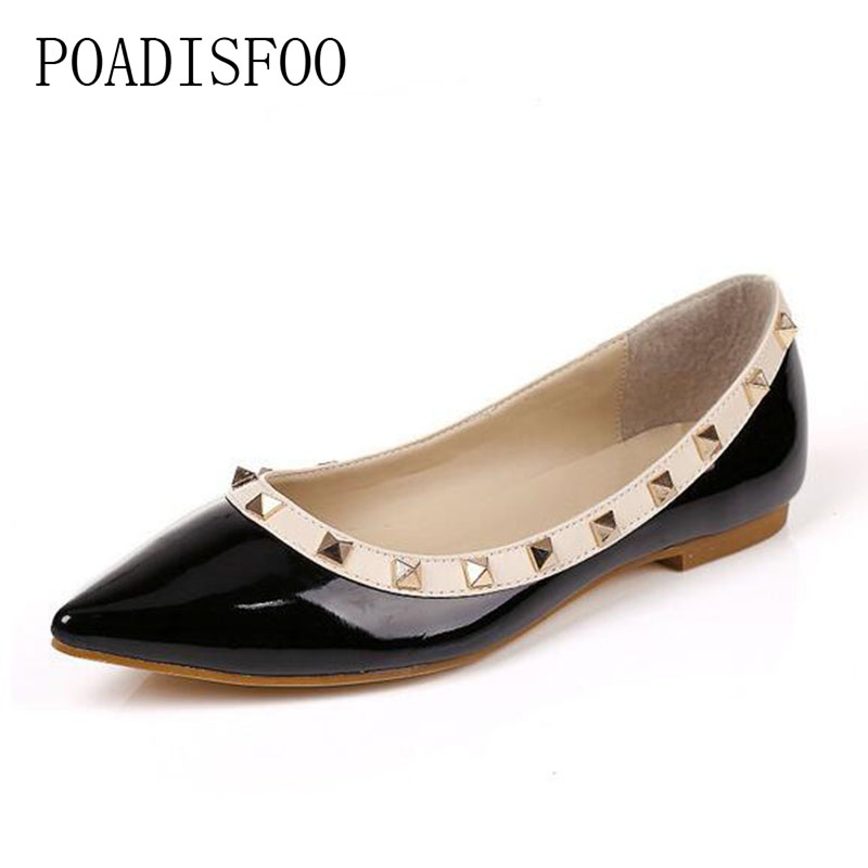 POADISFOO 2018 Spring Women's Flat Shoe Rivet Pointed Toe Slip-On Solid ladies Shoes  women flats Black Sexy Shoes color .CX-4 beyarne spring summer women moccasins slip on women flats vintage shoes large size womens shoes flat pointed toe ladies shoes