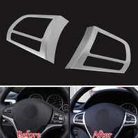 BBQ@FUKA 2pcs Car styling Chrome Steering Wheel Buttons Cover Trim car accessories For bmw 3 Series F30 F35 316i 320Li X4 X1 X5