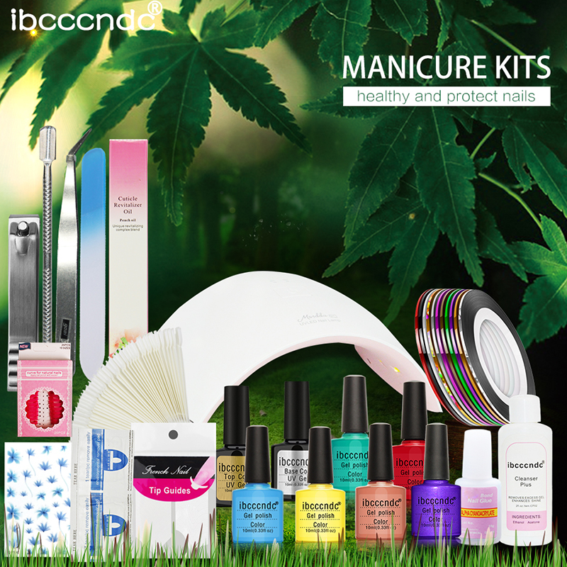 Nail Art Manicure Tools Set 24W Led Lamp + 6 Color 10ml UV Gel Polish Base Top Coat Varnish French Tip Remover Practice File Kit nail art manicure tools 36w uv lamp 6 colors soak off gel varnish nail base top coat polish with remover practice set file kit