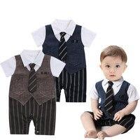 Baby Boys Clothes Short Sleeve Cotton Striped Rompers Children Boy Clothing Gentleman Infant Jumpsuit Fashion Newborns