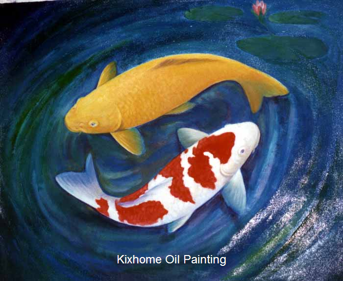Japanese Koi Fish Hand Painted Wall Art ReproductionKohakuYamabuki Abstract Acrylic Oil Paintings On Canvas For Hotel In Painting Calligraphy