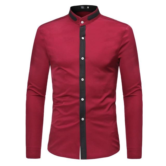 Correspondência de cores da primavera evening casual negócio colarinho da camisa estande camisa de manga comprida simples