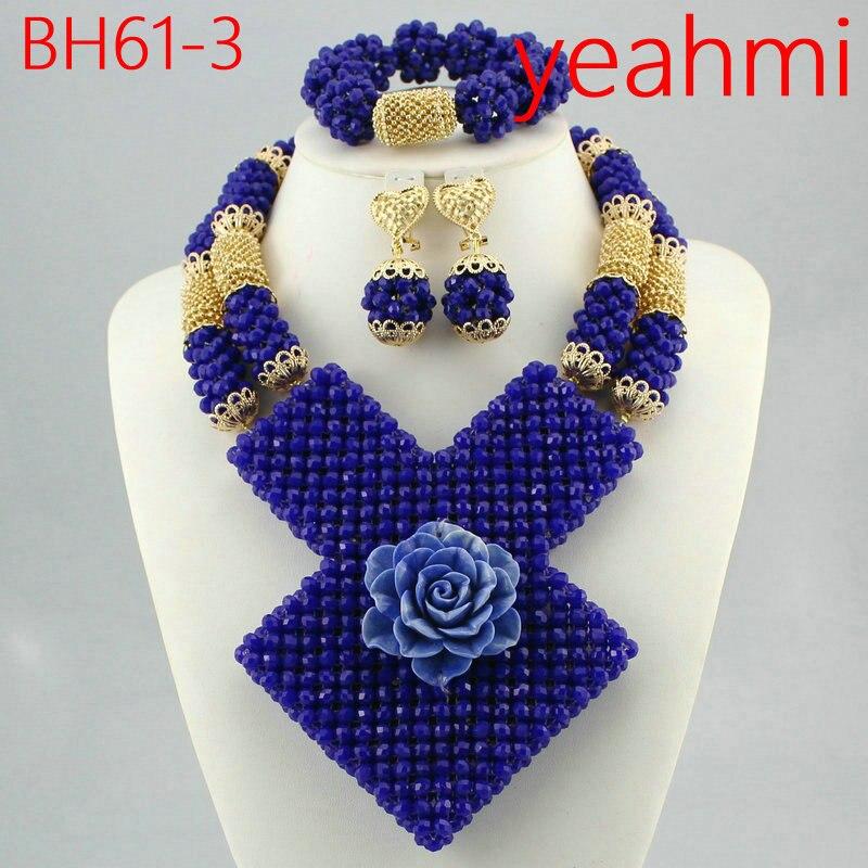 2019 grandes perles de corail ensemble de bijoux africains fantastique mariage corail perles de mariée ensemble de bijoux femmes déclaration bijoux ensemble BH61-2