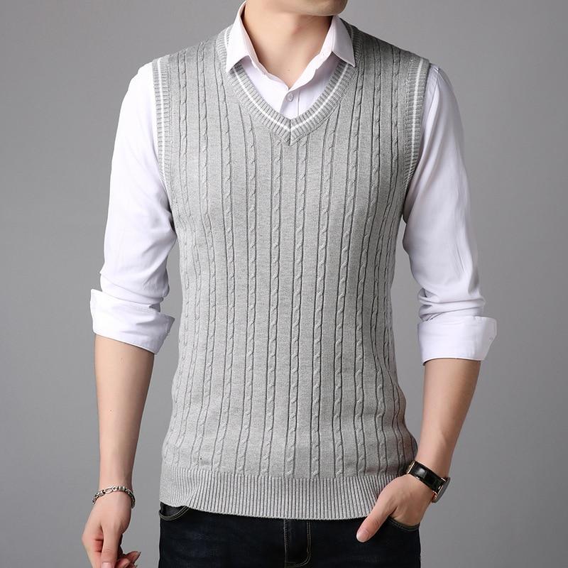 Sleeveless Sweater Tank Tops Men Spring Autumn Knitted Jumpers Vest For Men Fashion Casual Wear V Neck Basic Vest