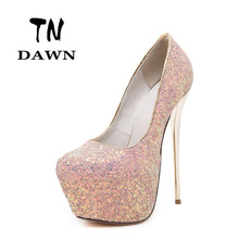 Fashion Platform pumps Women Ultra High Stiletto Heels Shoes Round Toe Thin Heels Glitters Sequins Flowers Party Wedding Shoes