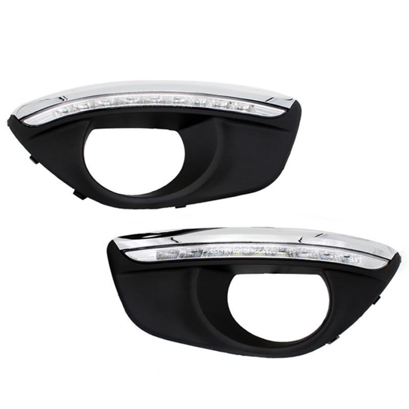2 шт./компл. автомобиля 12V SUNKIA СИД DRL дневные ходовые огни с Противотуманные фары отверстие для Hyundai Наворачивать функция 2010-2012 светло-Санта-Фе