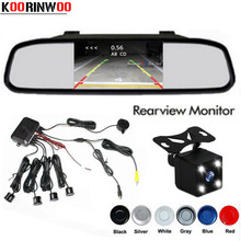 Koorinwoo автомобиля видео Обратный Парковка Сенсор комплект подключения заднего вида Камера 4 светодиодные фонари показать расстояние 4,3 дюймов зеркало автомобиля монитор