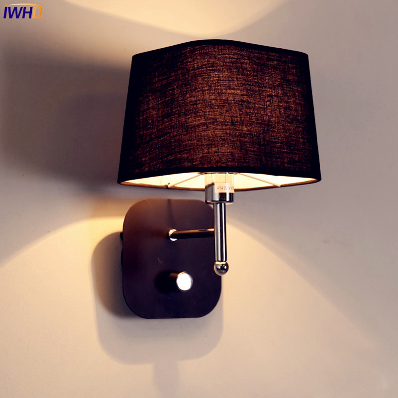 IWHD Nordic Modern LED Wall Lamp Living Room Fabric Switch LED Wall Light Stair Arandela Lampara Pared iwhd nordic modern led wall lamp living room fabric switch led wall light stair arandela lampara pared