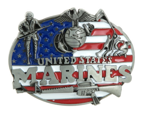 custom belt buckles High quality low price United States U.S. Marine Corps <font><b>USMC</b></font> buckle American Flag Metal Belt Buckle image