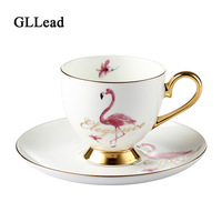 GLLead Creative Ceramic Flamingo Coffee Cup And Saucer Set Bone China Tea Cups Office Teacup Porcelain Fashion Gift