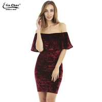 Elacher Ruffle Off The Shoulder Velvet Bodycon Dress Sexy Women Short Sleeve Club Wear Mini Dress