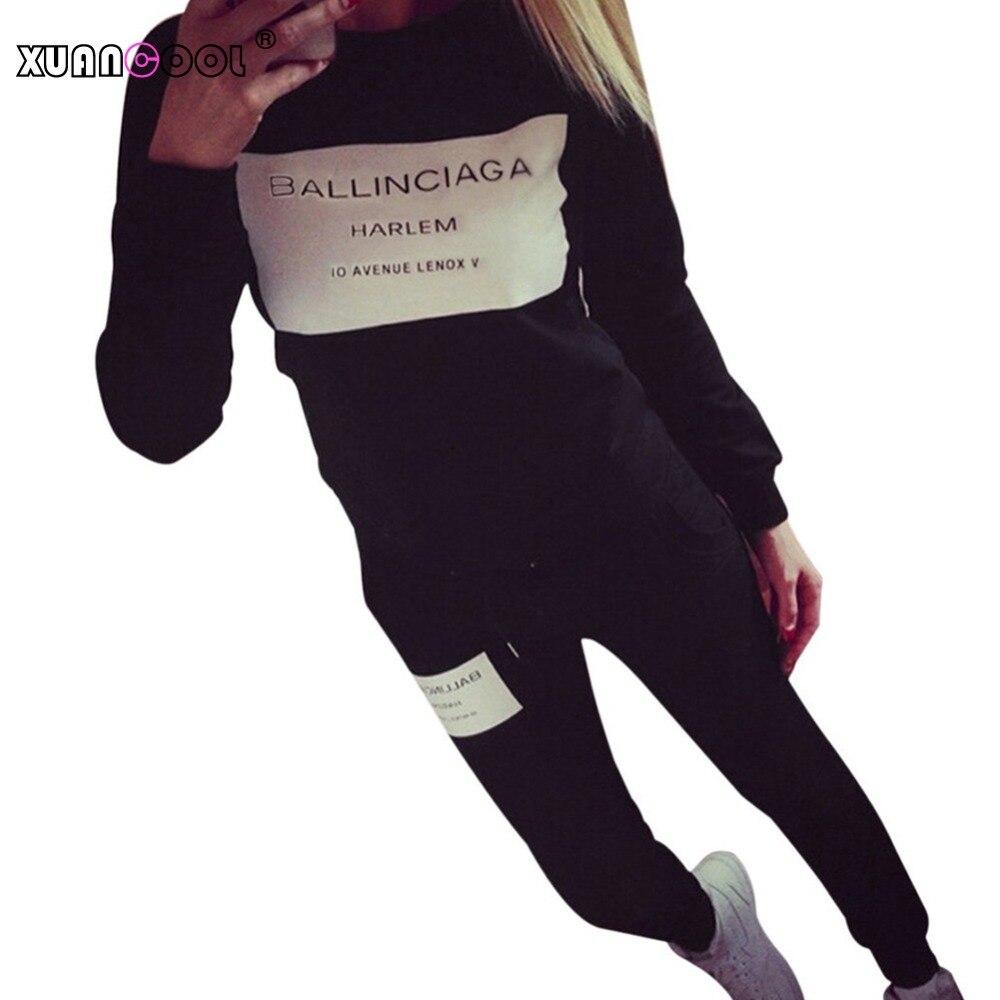 XUANCOOL 2020 Women Two Piece Set Female Tracksuit Fleece Hoodies Top + Pants Ladies Long Sleeve Outfit Femme Sporting Suits