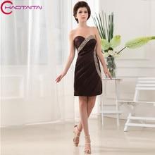 Cheap Custom by hand Chiffon Sweetheart Neck Bridesmaid Dresses Short Wedding Party Dress