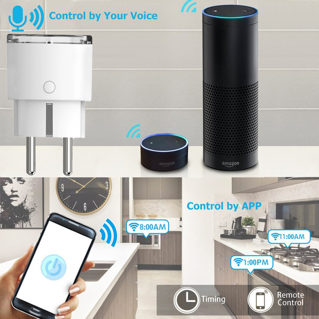 Smart Plug WiFi Control Socket 3680W 16A Power Energy Monitoring Timer Switch EU Outlet Voice Control by Alexa Google Home IFTTT 3