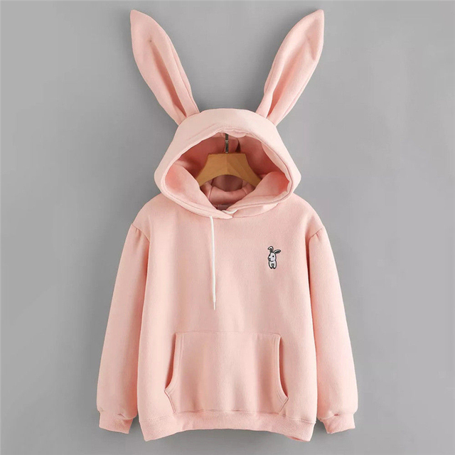 Womens Rabbit Ear Girl Long Sleeve Hoodies Sweatshirt Autumn Winter Cotton Hooded Coat Lovely Female Bunny Hoodies