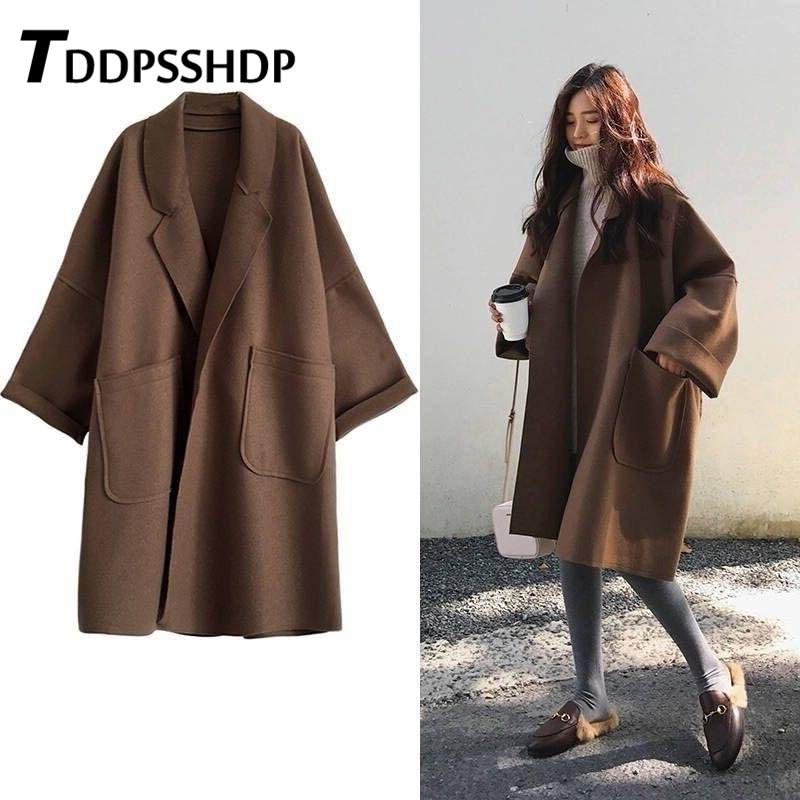 Fashion Loose Oversize Woolen Spring Coat Long Style Plus Size Brown And Black Pocket Female Jacket