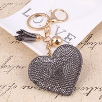 LLD28 Heart Keychain Leather Tassel Gold Key Holder Metal Crystal Key Chain Keyring Charm Bag Auto Pendant Gift