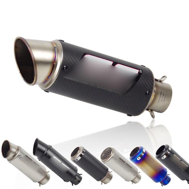 Universal Exhaust Muffler Silencer Exhaust System Pipe Black Tip Muffler Tip Tail Pipe for Motorcycle ATV Street Bike