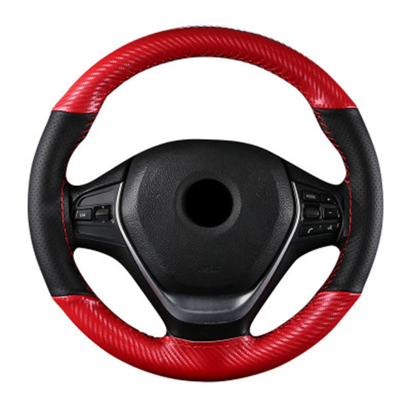 DIY Car Braid Carbon with Leather Steering Wheel Cover Hand stitched Sport Auto Wheels Covers Case Universal Size 15 Inch 38cm in Steering Covers from Automobiles Motorcycles