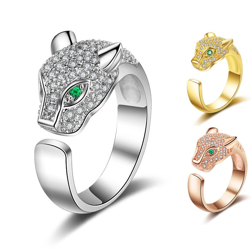Personality Rings Green Eyes Panther Rings Personality Charm Jewelry