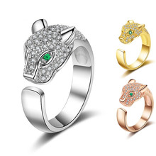 Personality Rings Green Eyes Panther Charm Jewelry