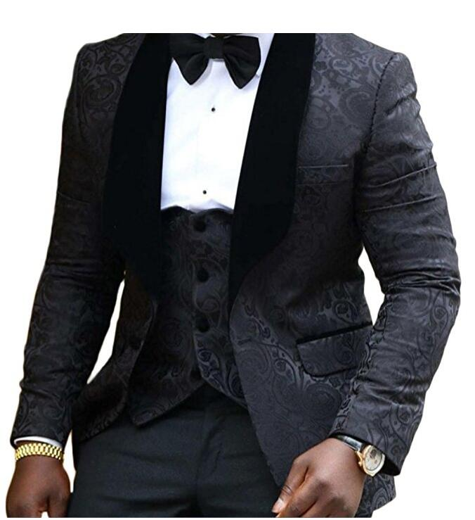 Brand New Shawl Lapel Groom Tuxedos punane valge must pulm ülikonnad - Meeste riided - Foto 6