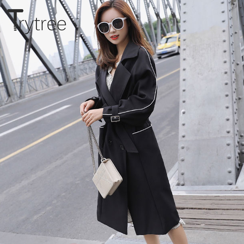 Trytree 2018 Autumn Women Casual Windbreakers Solid Sashes Cotton Polyester Wide-waisted Office Lady Thin Long Blue Black Coats