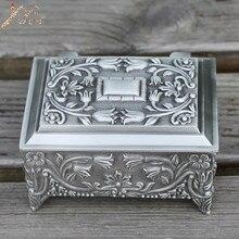 535b06e5b0eb Peltre plateado Flor de metal grabado joyería caja de aleación de zinc de  la baratija