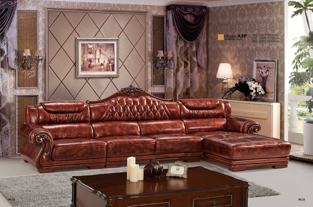 2015 European style sofa New classic leather sofa A 39