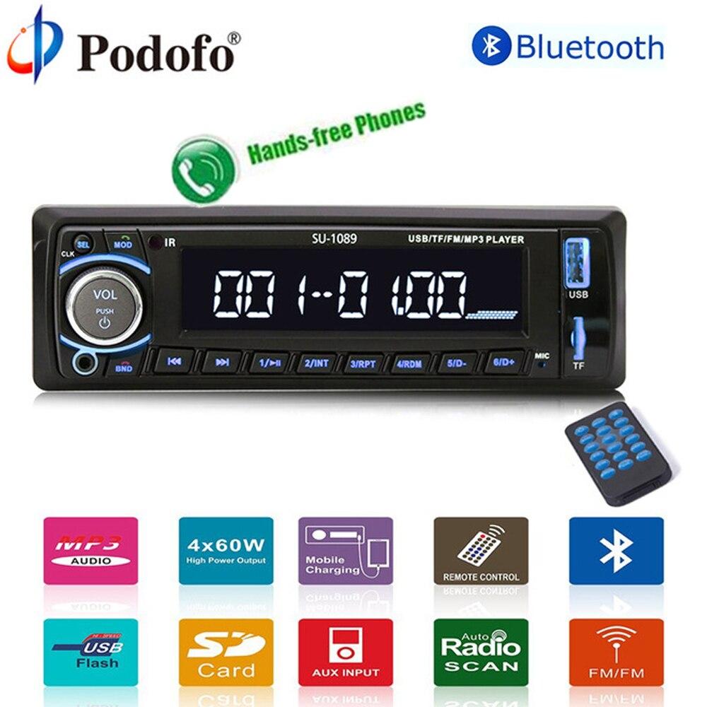 Podofo 4 Autoradio Car Radio 12V Bluetooth Car Stereo In-dash 1 Din USB/AUX/FM/AM Radio Universal Input Receiver SD/MP3/MMC/WMA