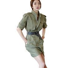 8ddd0d4837377e8 Для женщин военные Стиль платья Армейский зеленый короткий рукав Stand  Collar Zip Front большими карманами поясом