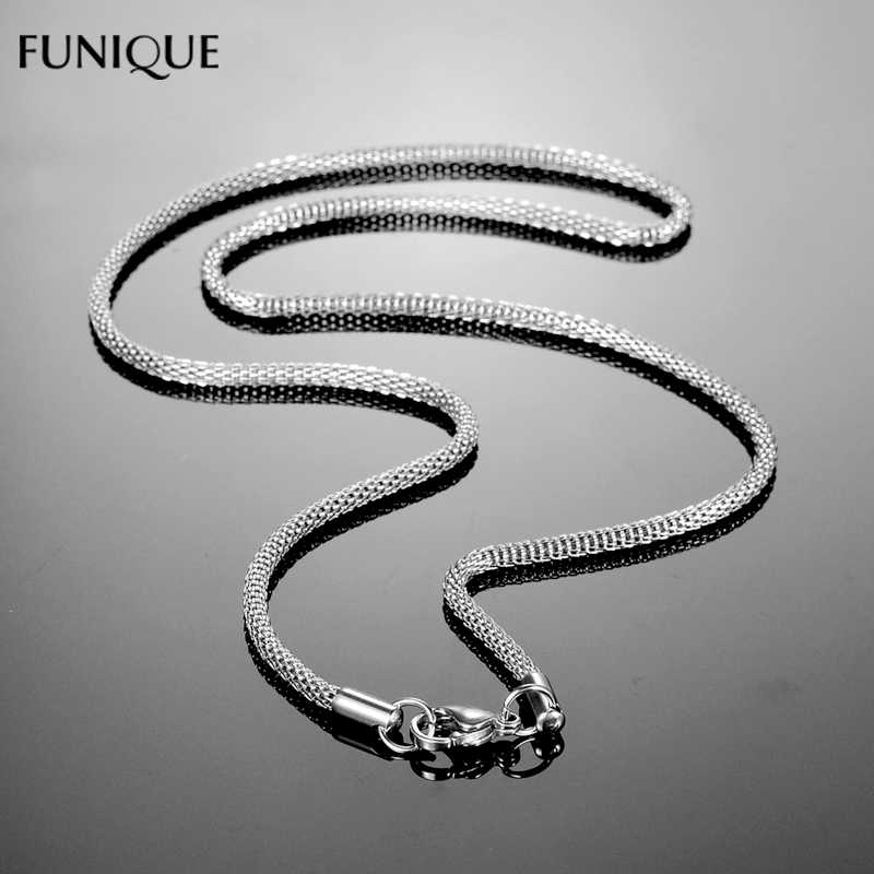 FUNIQUE New Necklace Jewelry Stainless Steel Mesh Chains Necklace For Womens Silver Tone Steampunk Men Necklace Jewelry 45-70cm