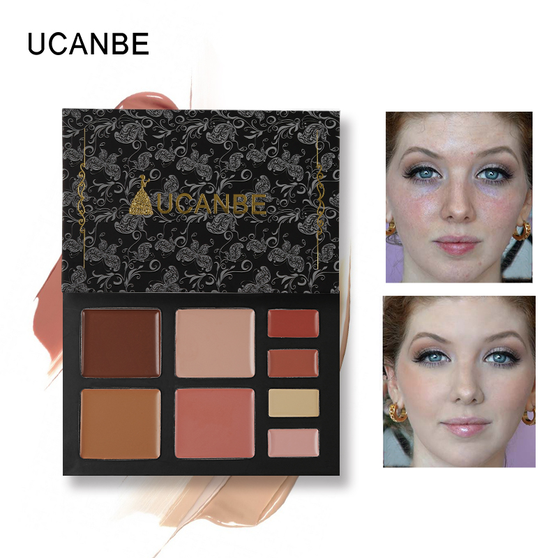 UCANBE Brand 8 Color Concealer Makeup Palette Face Full Cover Camouflage Contour Cream Base Foundation Primer Cosmetics 20g image