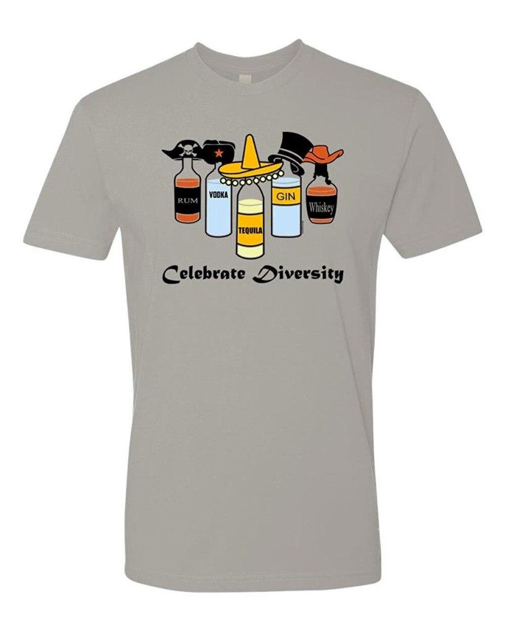 Tee Shirt Printing Design Men Crew Neck Celebtrate Diversity Alcohol Short Sleeve T Shirts