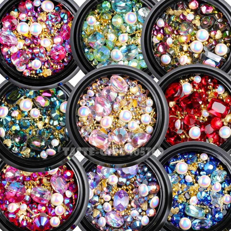 1 Jar Campuran Bentuk Glitter Berlian Mutiara Metal Twisted Bar Manik-manik Frosted Jantung Paku Seni Berlian Imitasi Permata Stiker Manikur DIY tips