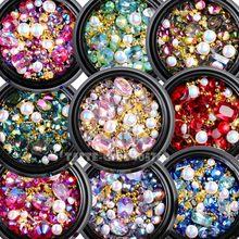 1 Jar Mix kształty brokat diamentowe perły metalowe skręcone Bar koraliki matowe serce Nail Art dżetów Gems kalkomanie Manicure DIY porady