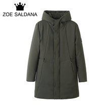 Zoe Saldana 2017 Winter New X-Long Thicken Hooded Parkas Men's Solid Casual Fashion Coat Windbreaker Warm Outwear High Quality
