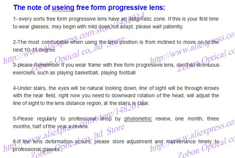 the note of using the free form lens
