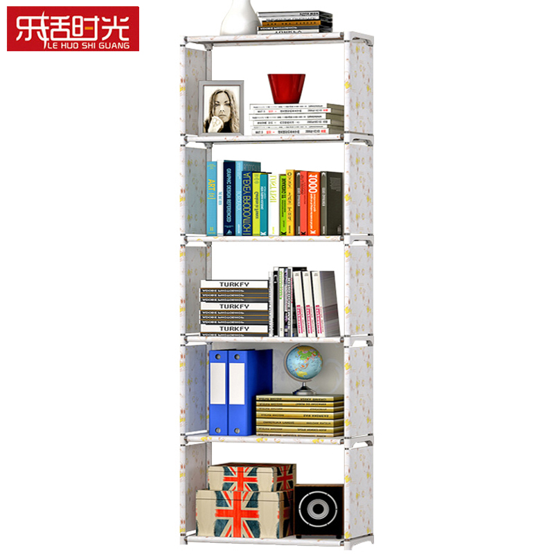 Simple 5 Grids Bookshelf Creative Storage Shelf For Books Plants Sundries DIY Combination Shelf Floor Standing Children Bookcase