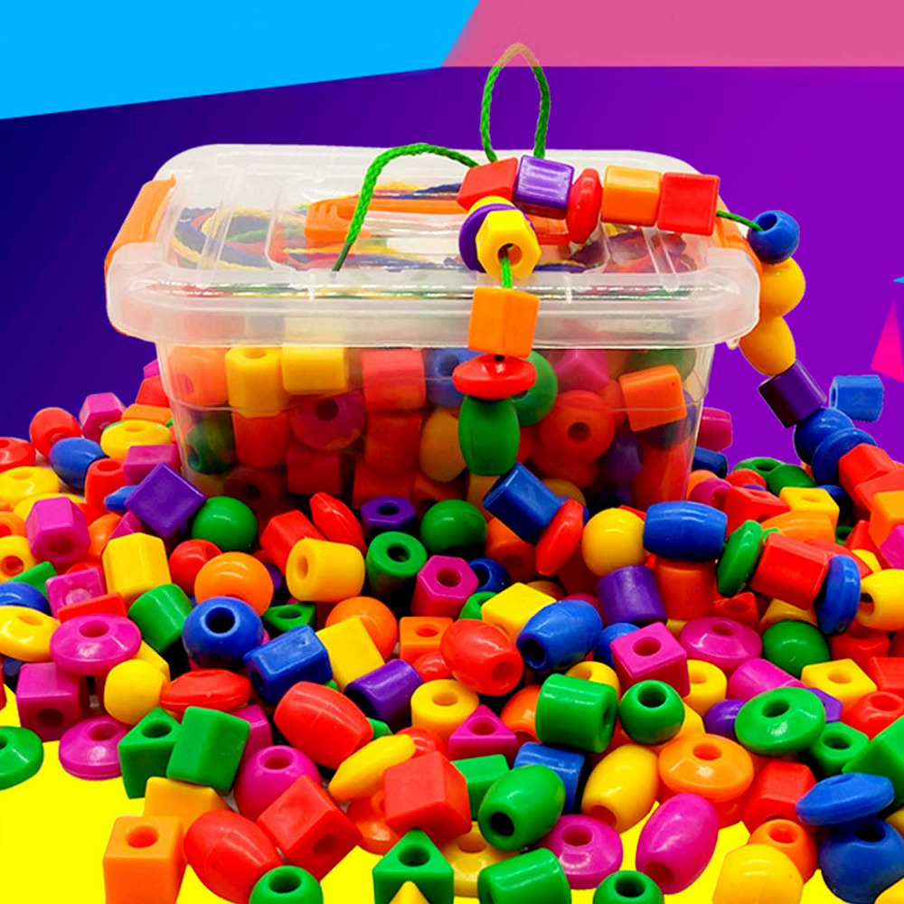 Kids 1 Set Colorful Plastic Loose Beads String Lacing Beads With 3 Laces DIY Bracelet Necklace Jewelry Tools Accessories Toys