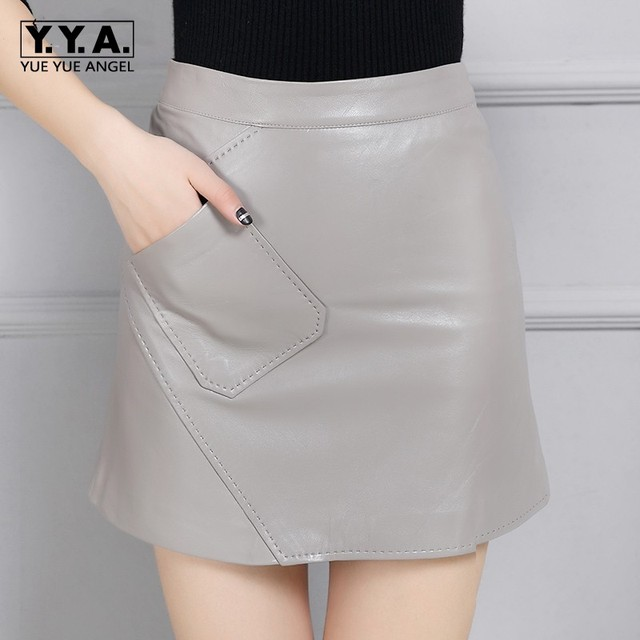 New Arrival 2019 Hot Sale Classic Womens Skirts Genuine Leather High Waist Sexy Mini Jupe Femme Casual Straight Pencil Wrap Saia