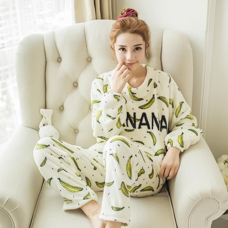 2017 fashion autumn Winter Womens   Pajama     Set   Long Sleeve Women Gift printing Sleepwear Warm Thick Flannel Pijamas Nightwear   Sets