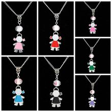 10PCS Drop Glaze Pretty Girl&Glass Flower Bead Charm Pendant Popular Short Clavicle Necklace Banquet Jewelry DIY For Women G273