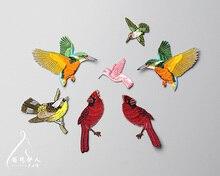 Nueva alta calidad de la mezcla de aves 7 diseño de parches bordados para la ropa, parches bordados de hierro en parches bordados para la ropa