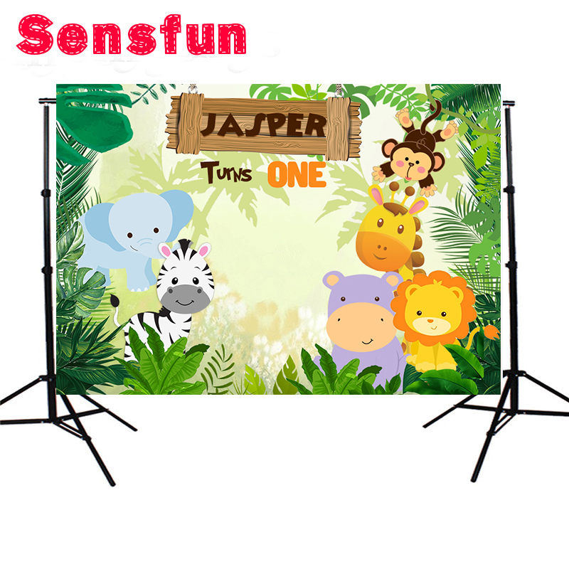7x5ft Vinyl Cloth Cartoon Photocall Safari Party Children Custom Photo Studio Jungle Backdrops Background vinyl cloth easter day children party photo background 5x7ft photography backdrops for party home decoation photo studio ge 072