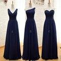 Azul marino Gasa Larga Una Línea Plisado Vestido de Dama de Menos de $50 Negro Púrpura De La Boda Vestido de Fiesta 2016 Robe Demoiselle D'honneur
