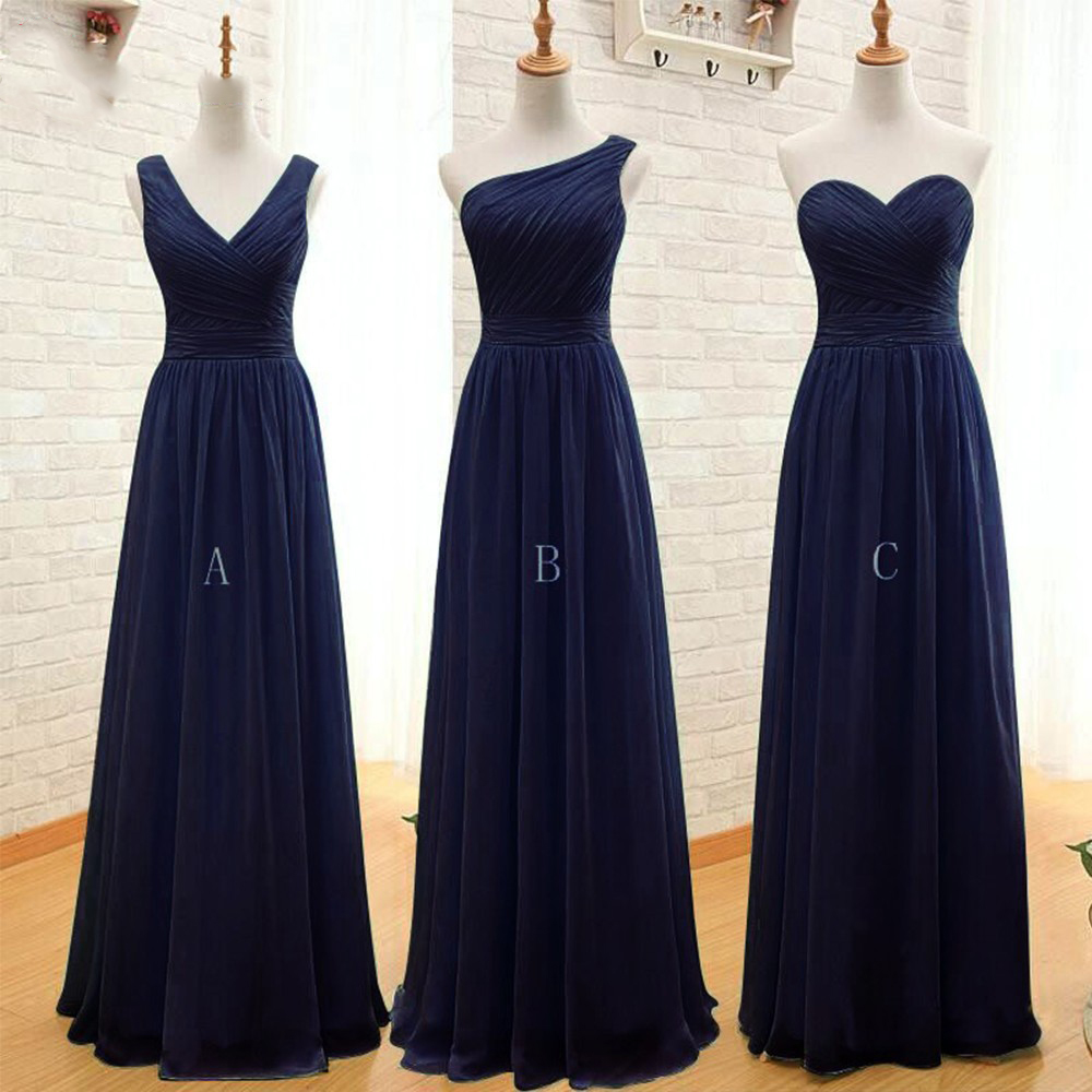 Navy blue long chiffon a line pleated bridesmaid dress for Blue long dress wedding