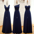 Navy Blue Long Chiffon A Line Pleated Bridesmaid Dress Under $50 Dark Purple Wedding Party Dress 2016 Robe Demoiselle D'honneur