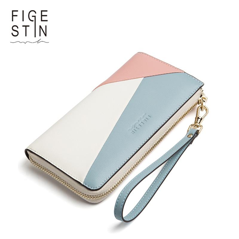 FIGESTIN Brand Women Wallet Genuine Leather Female Zipper Long Coin Purses Card Holders Clutch Wristlet Phone Wallets