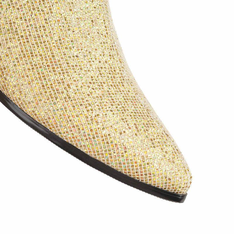 NEMAONE ใหม่ผู้หญิงสแควร์ส้นต่ำรองเท้า poined toe สุภาพสตรีรองเท้าสีดำทองเงิน casual รองเท้าผู้หญิง